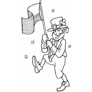 Leprechaun With Flag coloring page