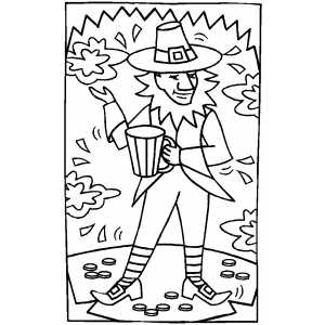Leprechaun With Gold coloring page