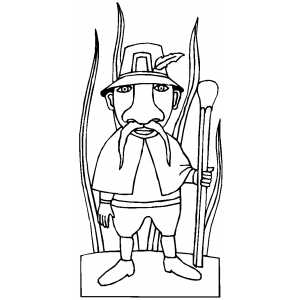 Leprechaun With Stick coloring page