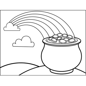 Rainbow and Pot of Gold coloring page