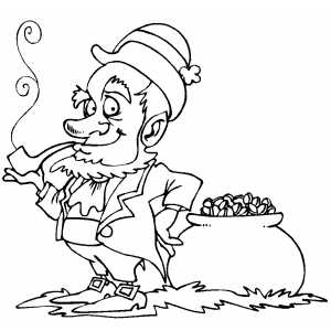 Smoking Leprechaun With Gold coloring page