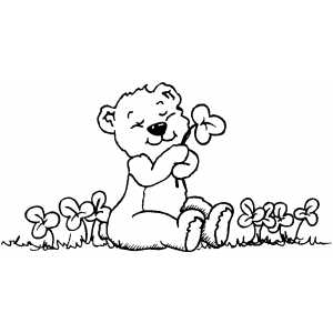 Teddy Bear And Shamrocks coloring page
