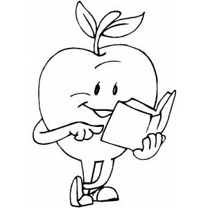 Apple Reading Book coloring page