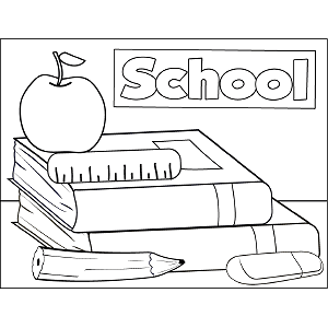 Books and Supplies coloring page