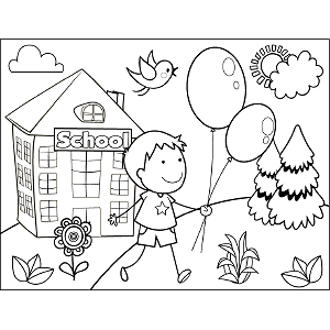 Boy Balloons coloring page