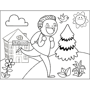 Boy Running School coloring page