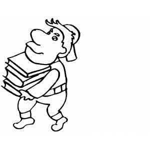 Boy With Set Of Books coloring page