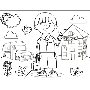 Boy with Banana coloring page