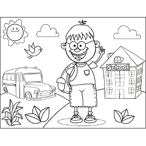 Boy with Glasses Book Bag coloring page