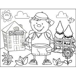 Boy with Hat coloring page