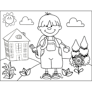 Boy with Pencil Backpack coloring page