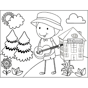 Child Guitar School coloring page