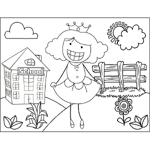 Girl Crown Curtsey coloring page