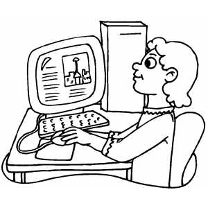 Girl Making Report On Computer coloring page