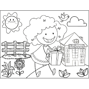 Girl Present  coloring page
