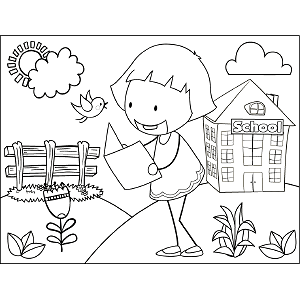 Girl Reading Book Outdoors coloring page