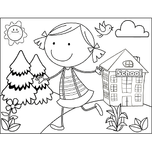 Girl Running Bird coloring page