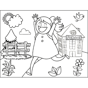 Girl Running School coloring page