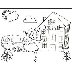 Girl Running School Bus coloring page