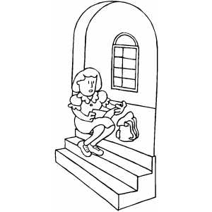Girl Studying On Stairway coloring page