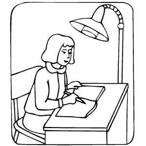Girl Studying Under Lamp Light coloring page