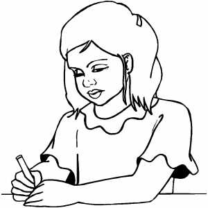 Girl Writing Note coloring page