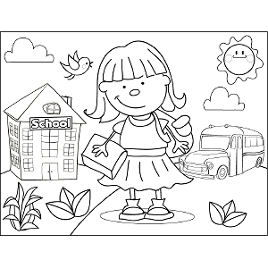 Girl with Bangs Book coloring page