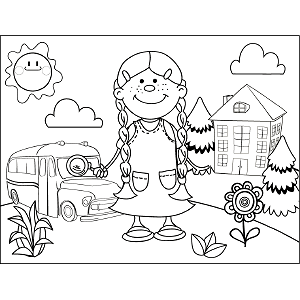 Girl with Braids School Bus coloring page