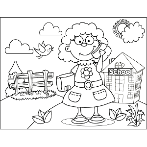 Girl with Curls and Phone coloring page