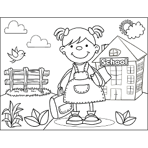 Girl with Pigtails Book Bag coloring page