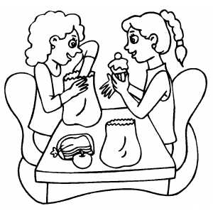 Girls Trading Lunches coloring page