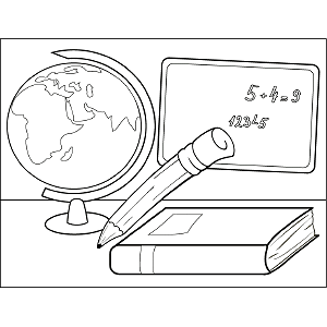 Globe School Supplies coloring page
