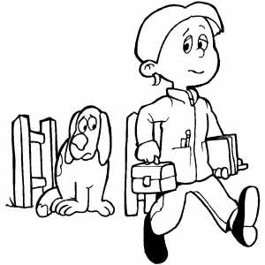 Guy Walking To School coloring page