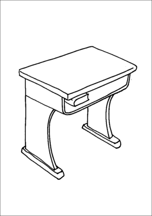 table top coloring pages | School Desk Coloring Page