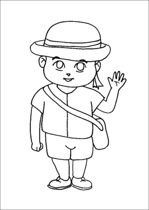 Student In School Uniform coloring page