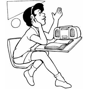Listening Coloring Page