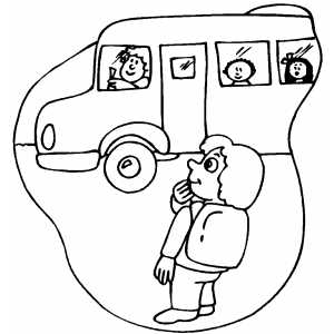 Student Waiting For Schoolbus coloring page