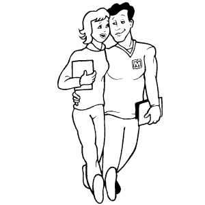 Students Couple coloring page