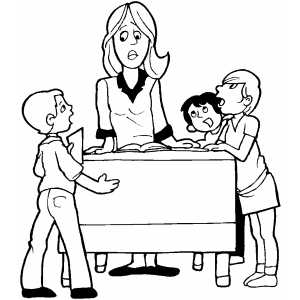 Teacher Annoyed By Students coloring page