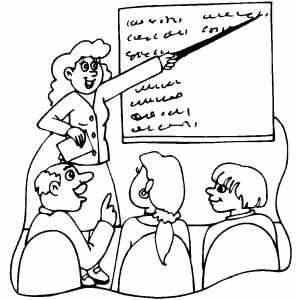 Teacher Explain To Students Using Chalkboard coloring page