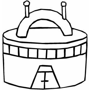 Alien Drum Building coloring page