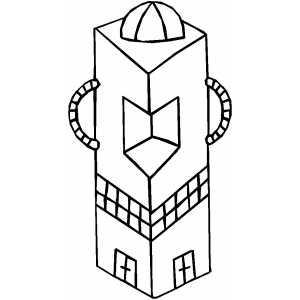 Alien Square Building coloring page