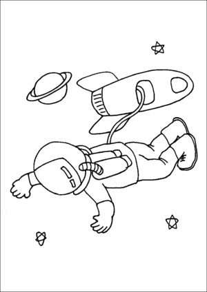 Astronaut Space Walk coloring page