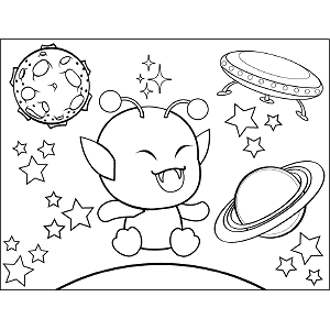 Baby Space Alien coloring page