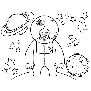 Big Space Alien with Bubble coloring page
