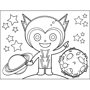 Big Zig Zag Space Alien coloring page