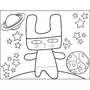 Bunny Space Alien coloring page