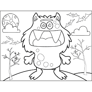 Cat Monster coloring page