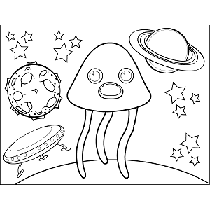 Conical Space Alien coloring page
