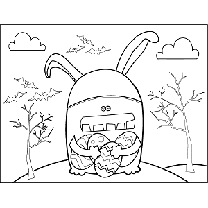 Easter Bunny Monster coloring page